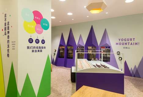 Origami-Themed Dessert Parlors - This Colorful Stone Fresh Frozen Yoghurt Cafe was Designed by TRIAD