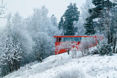 Vibrant Norwegian Homes - This Cozy Cabin Boasts a Vibrant Red Exterior