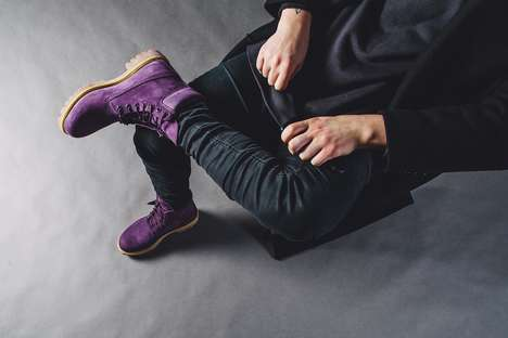 Violet Combat Boots - These Dazzling 'Purple Diamond' Boots Make a Bold Fashion Statement