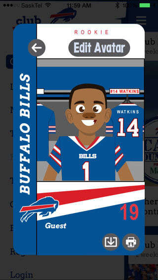 Animated Sports Fan Apps - Club Buffalo Bills is a Dedicated Sports Fan Club for Kids
