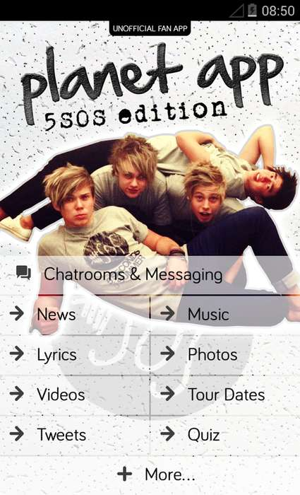 Boy Band Messenger Apps - The Planet App Unites 5 Seconds of Summer Fans