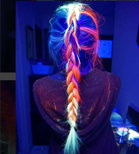Glowing Fluorescent Hairstyles - This Rainbow Hair Color Creatively Glows in the Dark