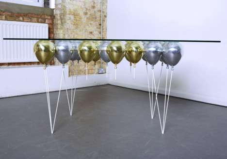 Illusory Balloon Tables - This Surrealist Dining Room Set Features Floating Balloons Underneath