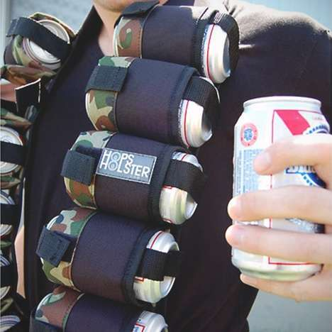 Holstered Beer Ammo Belts - The Hops Holster Fits a 12-Pack of Beer Around the Wearer