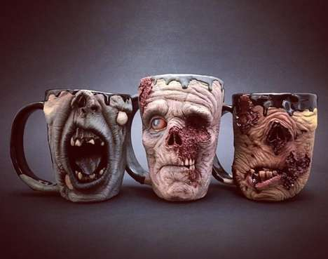 Macabre Monster Mugs - These Drinking Cups by Turkey Merck Pottery Feature Gruesome Visages