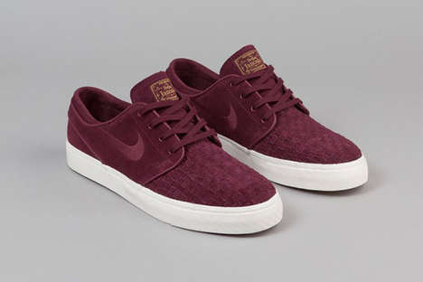 Woven Suede Sneakers - The Nike SB Stefan Janoski Skater Shoes Feature a Dapper Luxe Leather Design