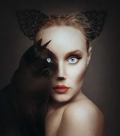 Animal-Human Hybrid Portraits - The Animeyed Series Showcases a Woman Sharing Her Eye with Creatures