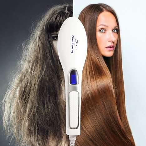 Hair Health-Improving Brushes - The OwnHarmony Hair Straightener Brush Stimulates the Scalp