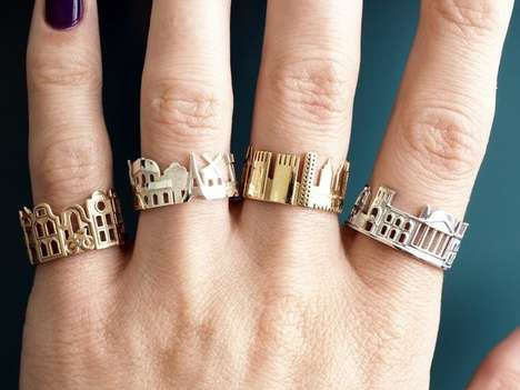 Cityscape Metallic Rings - These Metropolis-Honoring Rings Feature Panoramic Views of Iconic Cities