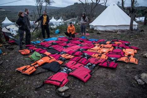 Upcycled Life Vest Matresses - These Volunteers are Turning Old Life Vests into Beds for Refugees