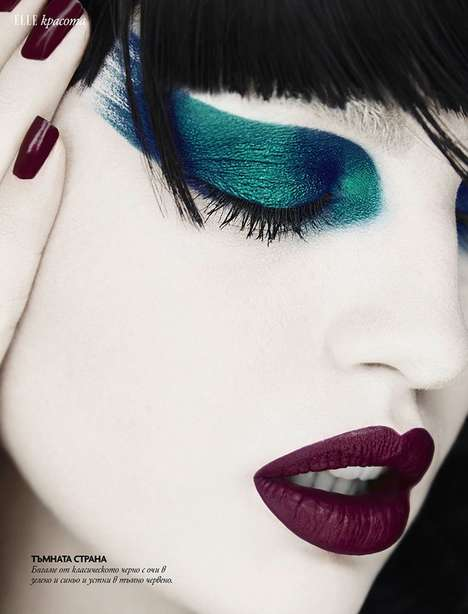 Expressive Makeup Photography - Elle Bulgaria's Latest Exclusive Highlights Technicolored Cosmetics