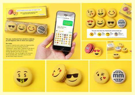 Emoji-Inspired Macarons - Muchimuchi Sent Out Cheery Yellow Macarons as a Gift to Clients