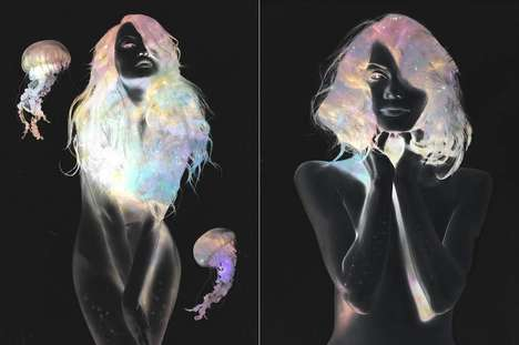 Cosmic-Colored Portraits - This Photo Series Contrasts Negative Images with Cosmic-Colored Overlays