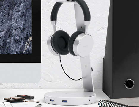 USB Port Headphone Stands - The Satechi Aluminum Wireless Headphone Stand Places Ports Within Reach