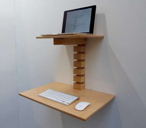 Wall-Mounted Standing Desks - This Compact Standing Desk Boasts a Minimalist Design