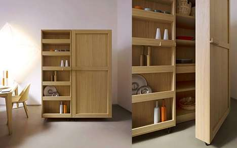 Modular Kitchen Pantries - This Kitchen Storage Cabinet Features Several Components for Easy Use