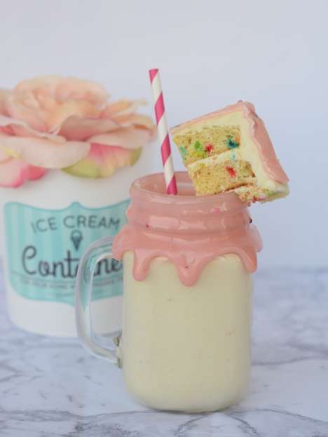 DIY Cake Batter Milkshakes - This Creamy Milkshake is Made from Cake Mix and Ice Cream