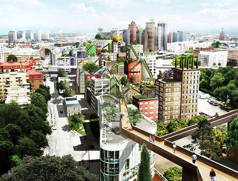 Connected City Skywalks - These Walkways Allow Stockholm Residents to Walk from Roof to Roof
