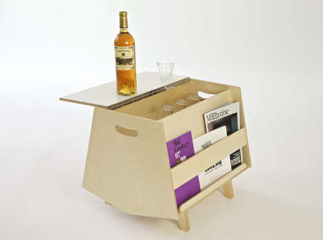 Bar-Embedded Coffee Tables - The 'Bottleship Mark 2' Magazine Shelf Has Drinks and Reading Material