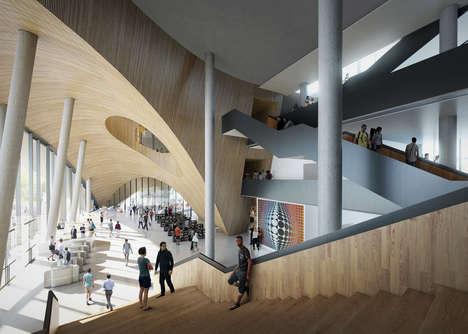 Modern Greek Antiquity Libraries - Snøhetta's Philadelphia University Atheneum Offers a Plaza Design