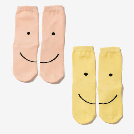 Smiling Sock Sets - The Smiley Face Socks by Poketo Come Together to Form a Cheerful Grin