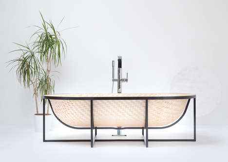 Woven Wooden Bathtubs - This Basket-Inspired Bathtub is Made from Thin Strips of Wood Veneer