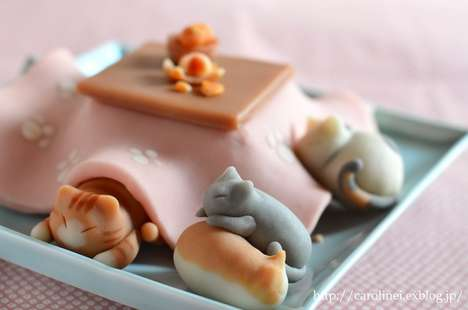 Candied Sleeping Felines - These Cute Model Sweets Combine Japanese Pet and Dessert Cultures