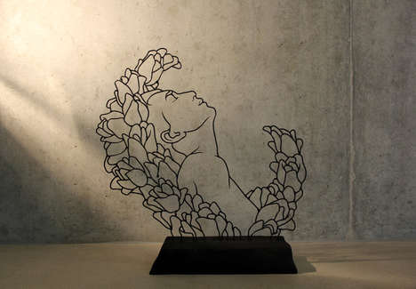 Flowery Wire Art - Flora by Gavin Worth Depicts Minimalist Blooming Portraits