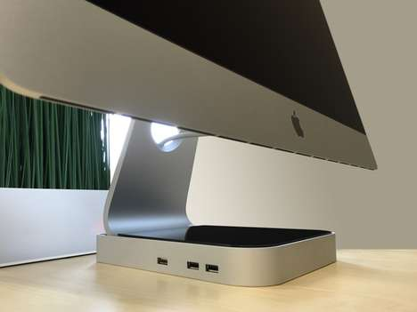 Computer Stand Peripherals - The 'ExoHub' USB Port Hub Works with iMacs to Place Ports within Reach