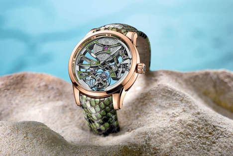Exotic Skeleton Watches - The Ulysse Nardin Skeleton Offers a Python Wristband and Transparent Face