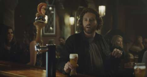 Bantering Bar Commercials - The Shock Top Super Bowl Ad Stars T.J. Miller and the Brand Mascot