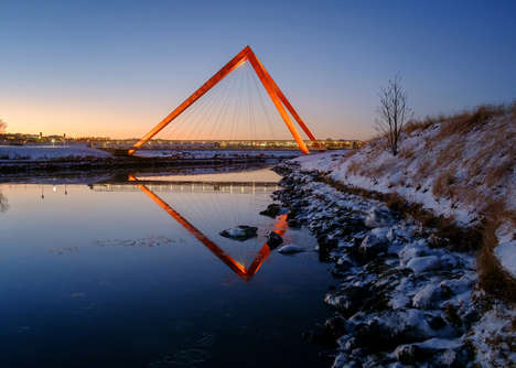 Triangular Pedestrian Bridges - These Bridges are Supported by a Pair of Hollow Pyramids