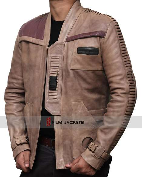 Cinematic Fighter Jackets - The Star Wars The Force Awakens Beige Leather Coat is a Film Replica