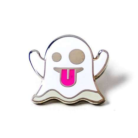 Ghoulish Emoji Pins - The Popular iOS Ghost Emoticon is Commemorated in this Wearable Accesory