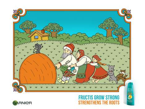 Illustrated Shampoo Ads - The Garnier Fructis Grow Strong Campaign Takes on a Fairy Tale Spin