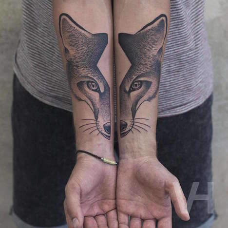 Split-Faced Animal Tattoos - Valentin Hirsch Creates Symmetrical Body Art Inspired by Wildlife
