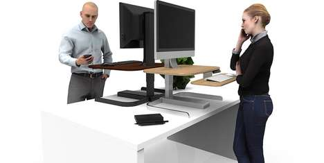 Adjustable Motorized Desks - The NextDesk 'CrossOver' Enables a Standing Workstation When Desired