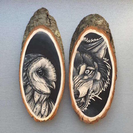 Wildlife Log Portraits - Kirsten Roodbergen's Wildlife-Themed Art is Crafted with Ink