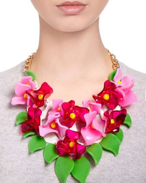 Tropical Lucite Accessories - Tatty Devine's Exaggerated Floral Necklace is Vacation-Ready