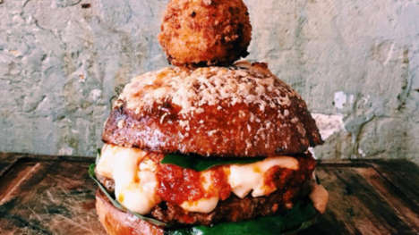 Hybrid Pizza Burgers - The Pilgrim Burger is Garnished with a Mac 'n' Cheese Arancini Garnish