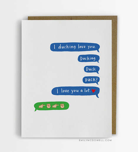 Romantic Texting Greeting Cards - This Valentine's Day Cards Express Comical Virtual Communication