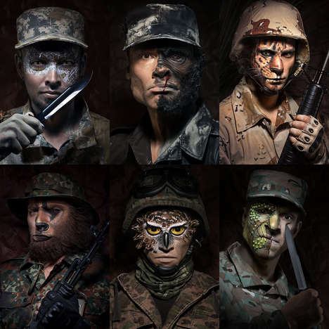 Animalistic Soldier Portraits - The Wild Soldiers Series Interprets Men Turning Into Beasts for War