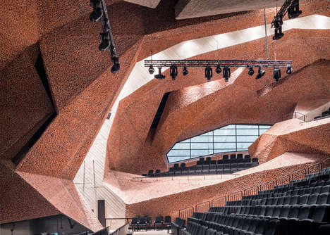 Crushed Brick Building Facades - This Concert Hall is Covered in Crushed Brickwork and Concrete