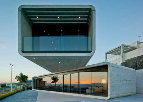 Cantilevered Concrete Homes - This Home Features Two Storeys That Overlap on an Unexpected Angle