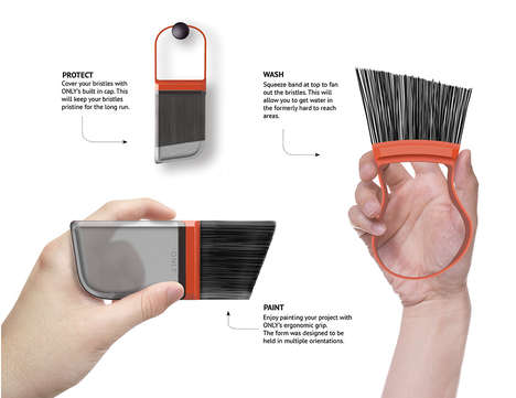 Easy Clean Painting Accessories - The 'ONLY' Paintbrush Can be Pinched to Fan Bristles for Cleaning