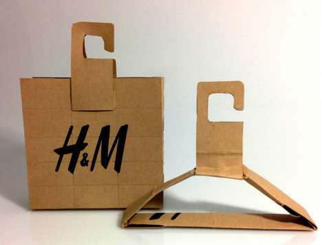 Transforming Recycled Shopping Bags - This H&M Packaging Concept Transforms into a Clothing Hanger