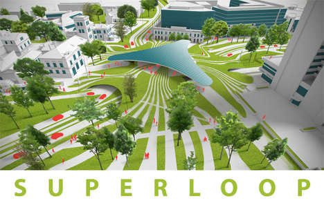 Futuristic Roadway Concepts - The Superloop Road Intersection Design Accommodates Self-Driving Cars
