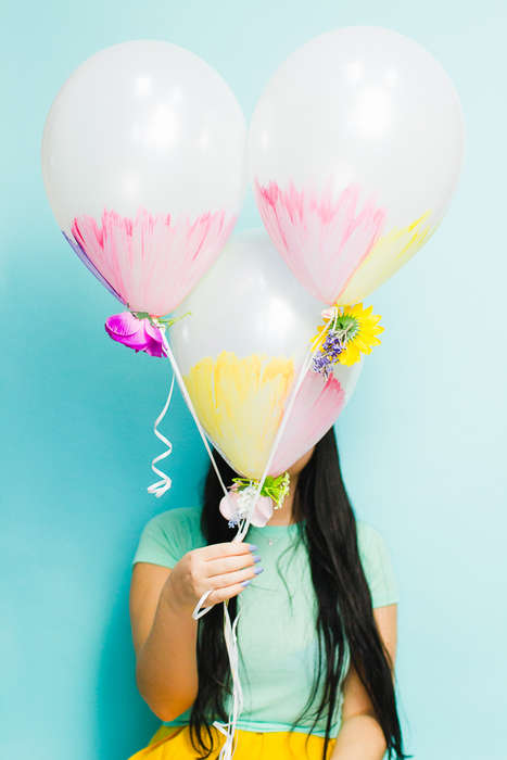 Watercolor Balloon Decor - This Balloon Craft Project is Made With Acrylic Paint and Faux Flowers