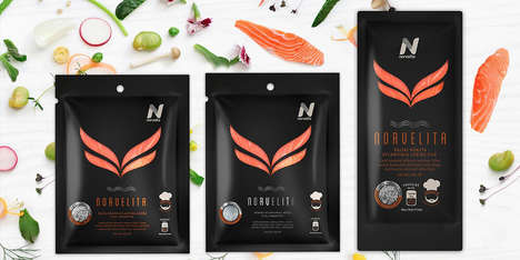 Cut-Out Salmon Packaging - The Packaging Concept for Norvelita Showcases the Product