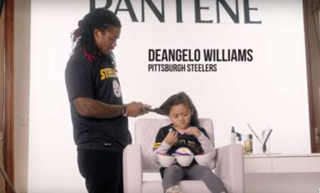Football Player Hairstyling Campaigns - The New Pantene Ad Features NFL Players and Their Daughters